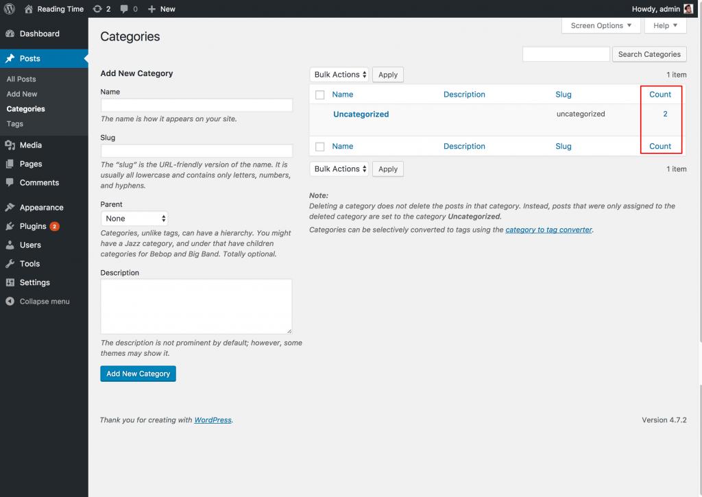 WordPress Category Screen