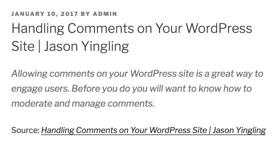 Press This Post Example