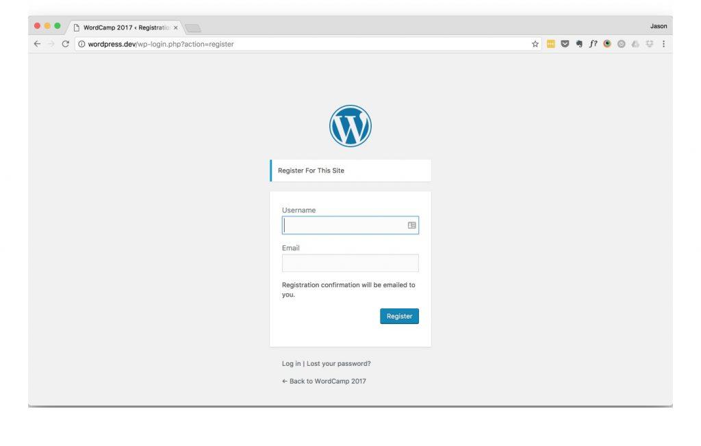 WordPress register user