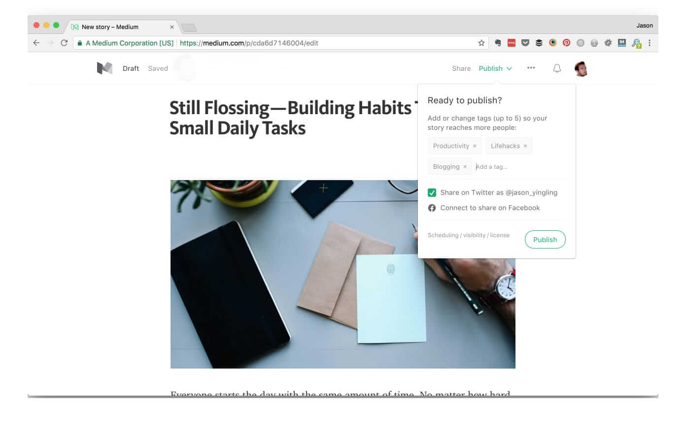 Import WordPress posts to Medium - Editor Screen